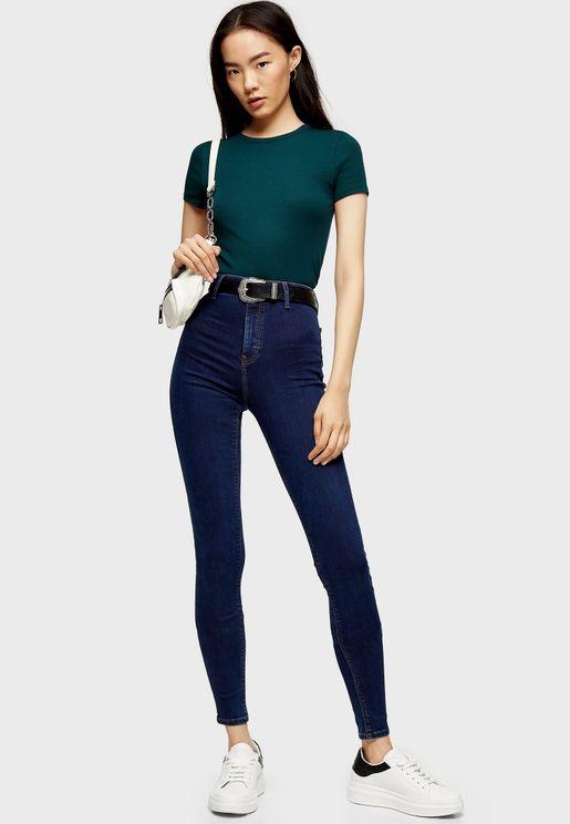 Moto Joni Super High Waist Spray On Skinny Jeans