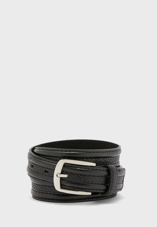 Snake Effect Leather Lined Belt
