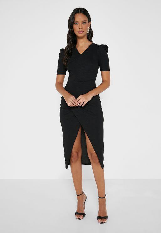 Puff Sleeve Overlap Style Dress