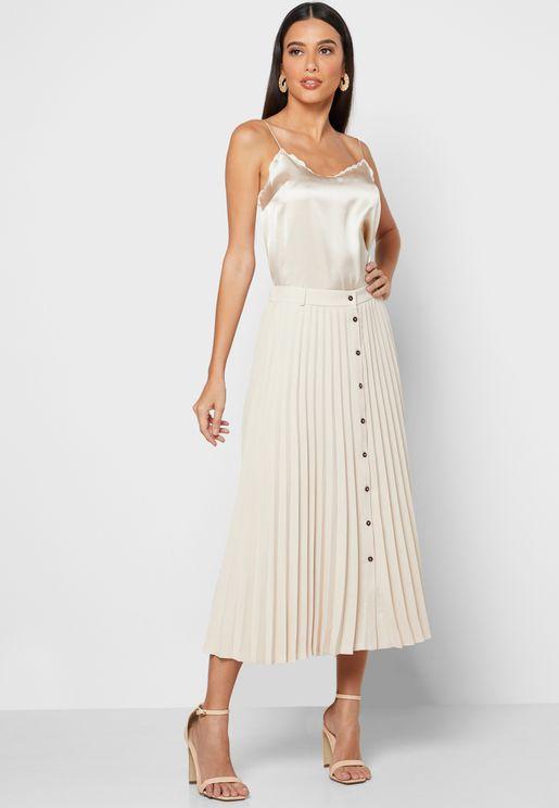 Button Down Pleated Midi Skirt
