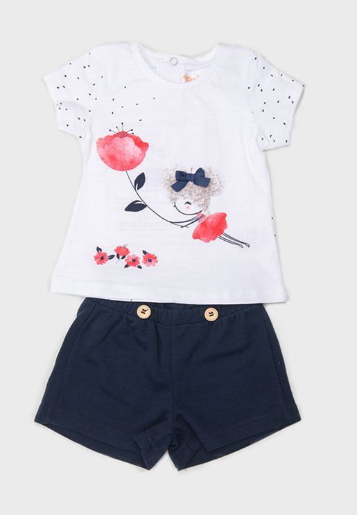 Kids Graphic Top + Shorts Set