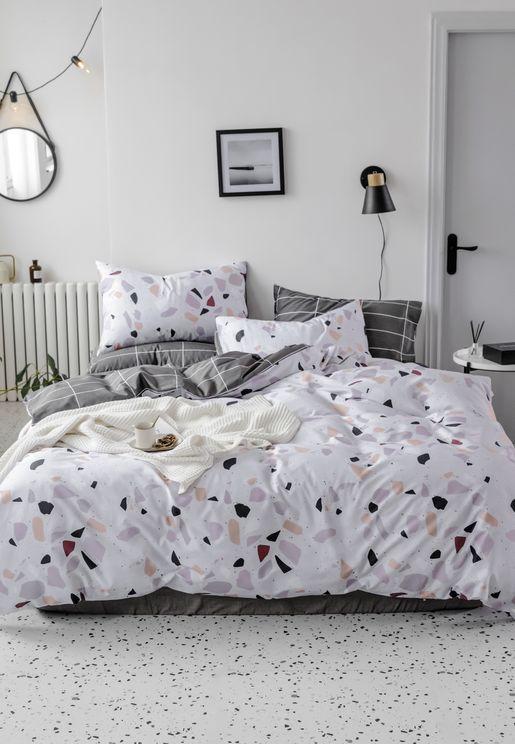 Terrazzo & Grid Print Bedding Set - King