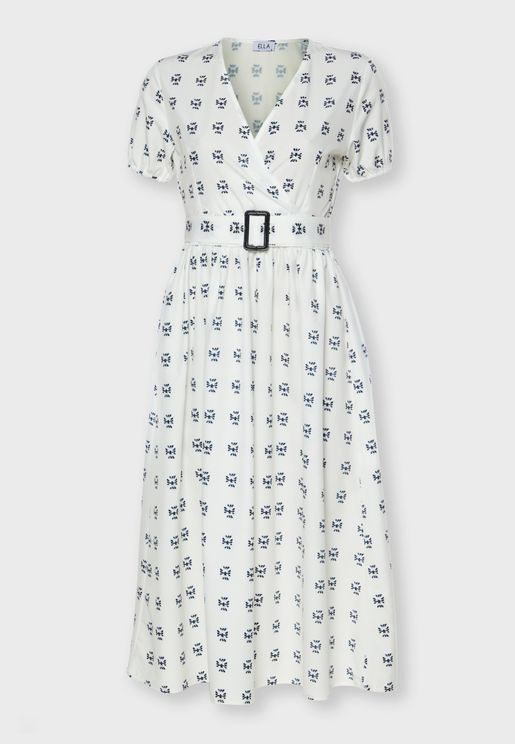 Printed Wrap Front Belted Midi Dress