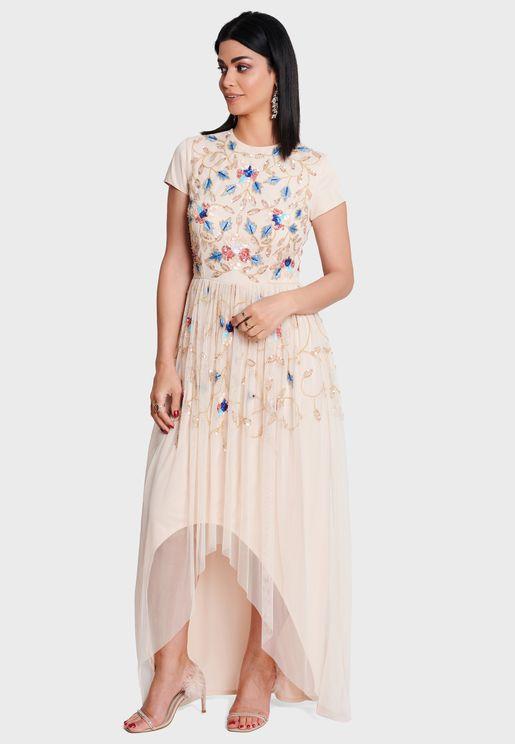 Embrllished Yoke Asymmetric Dress