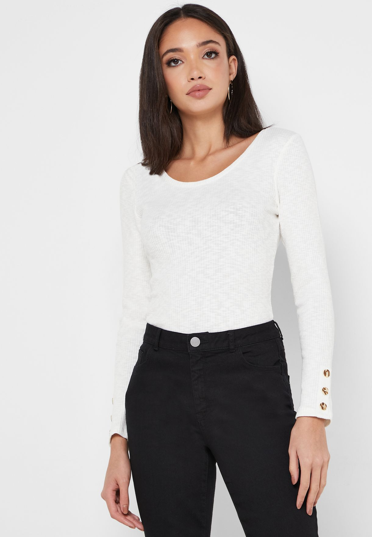 Ribbed Button Cuffed Top