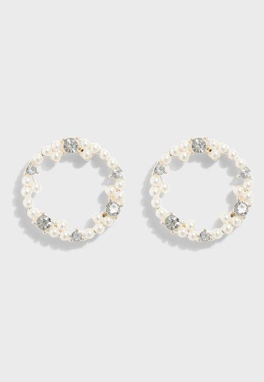 Stud Pearl Wreath Earrings