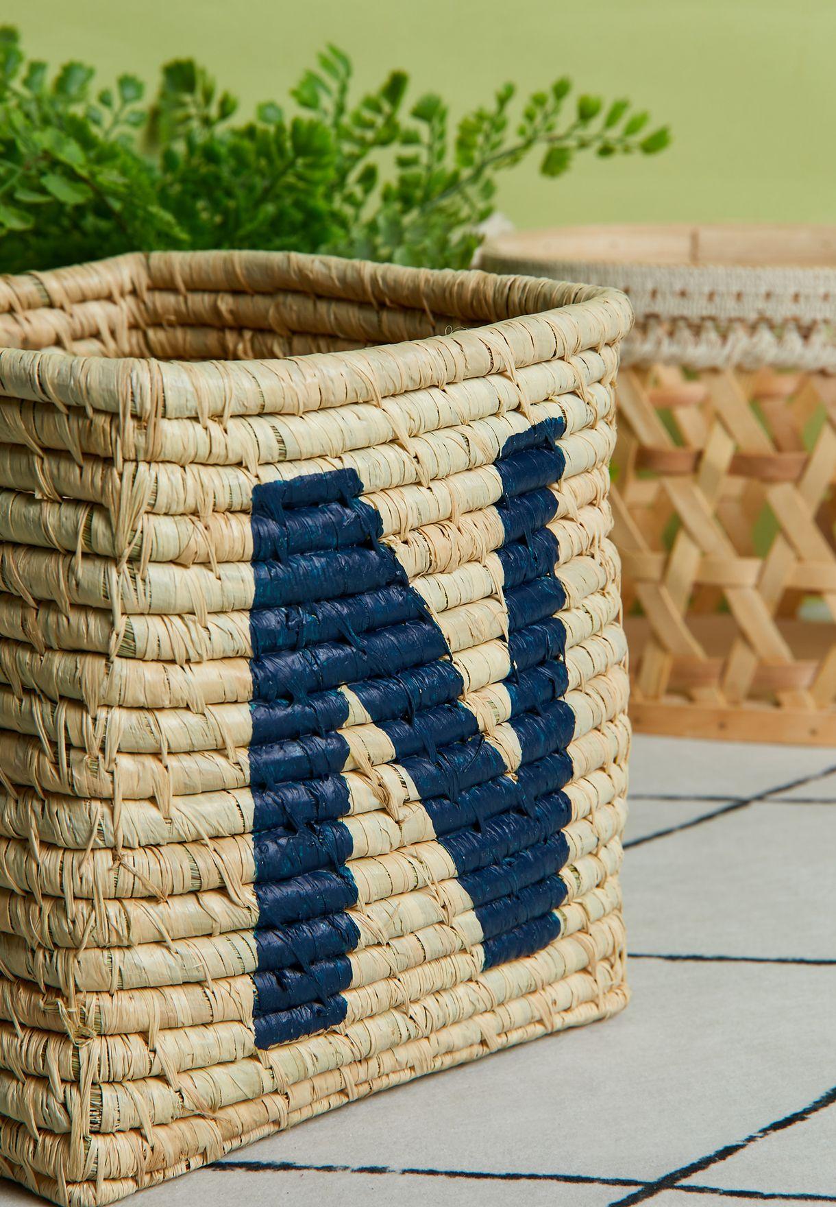 N Initial Square Raffia Basket