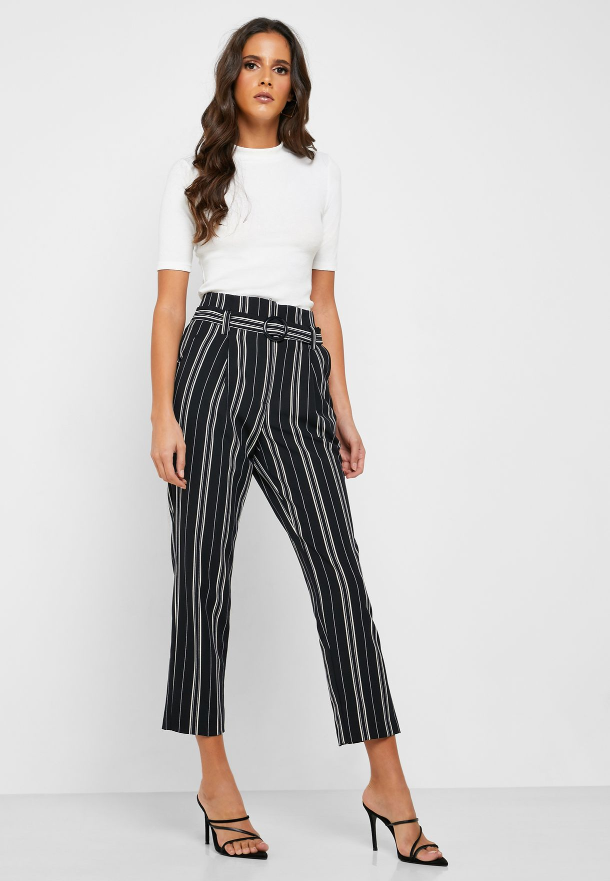 Buckle Detail Striped Pants