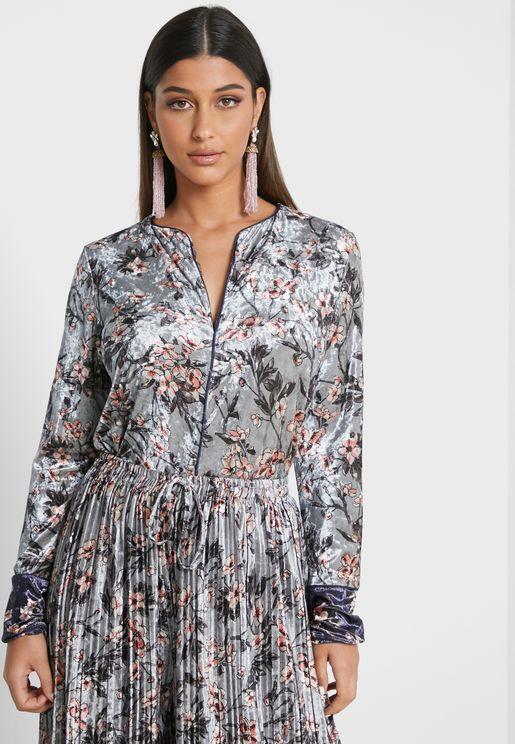 Notch Neck Printed Dress