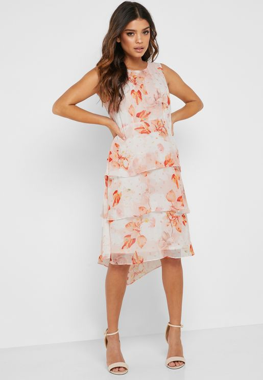 Floral Ruffle Tiered Midi Dress