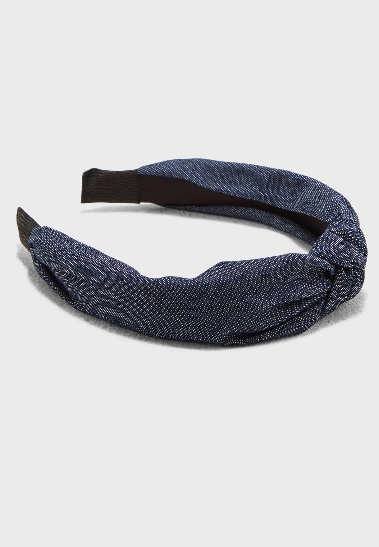 Knot front headband in denim
