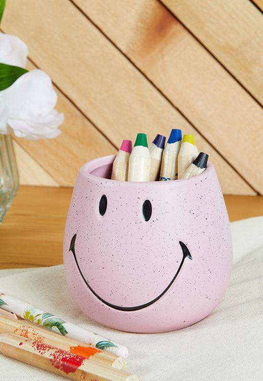 Smiley Pen Holder - Pink