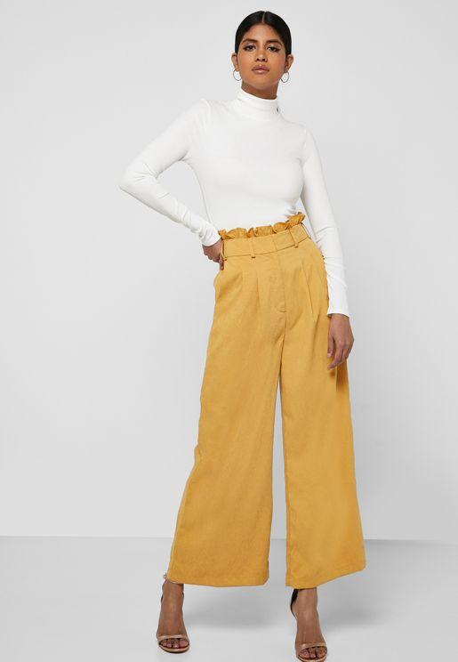 High Waist Ruffle Detail Pants