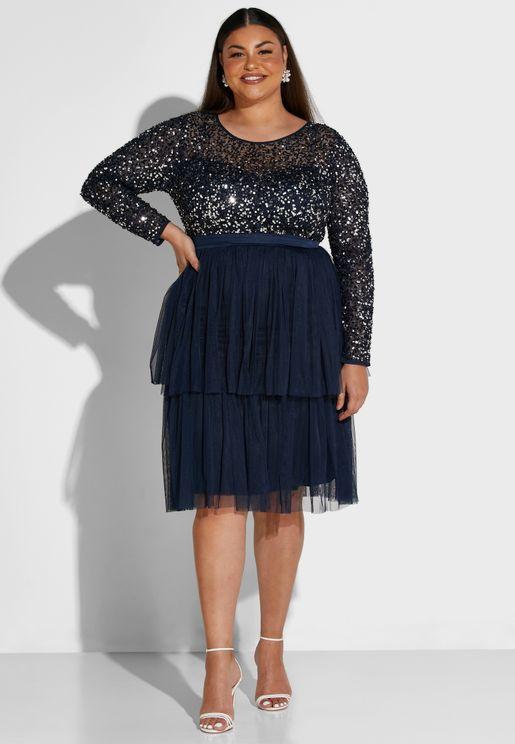 فستان مرصع بالترتر ذو تنورة تول