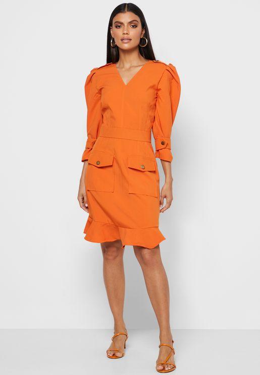Ruffle Hem Puff Sleeve Dress