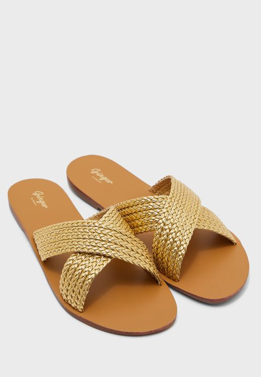 Braided Cross Over Flat Sandal