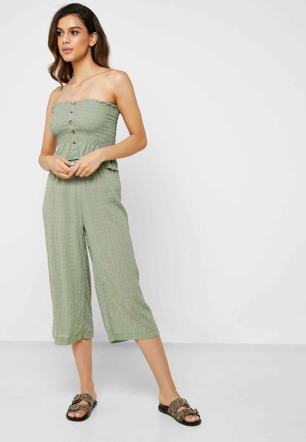 Wide Leg Cropped Shirred Pants
