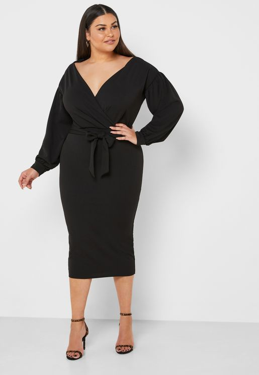 Plunge Wrap Belted Dress