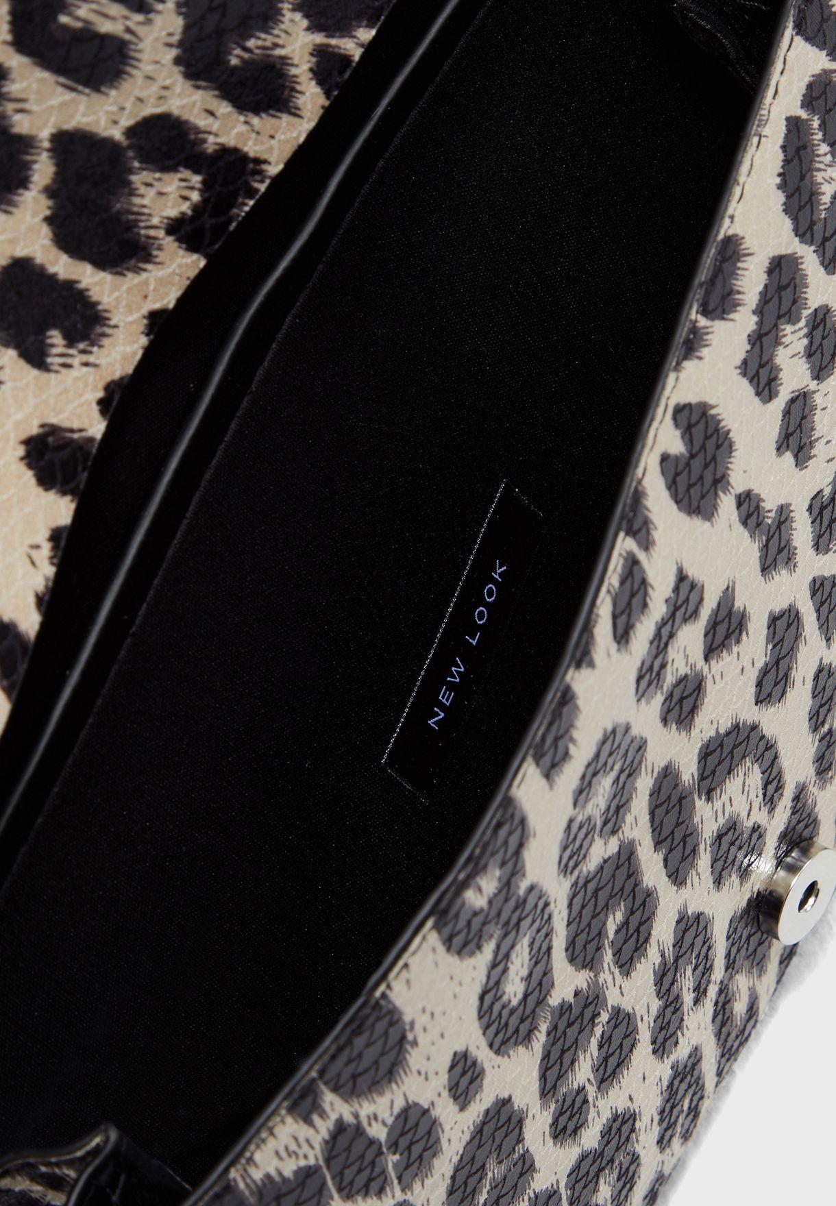 Mindy Snake Leopard Print Clutch