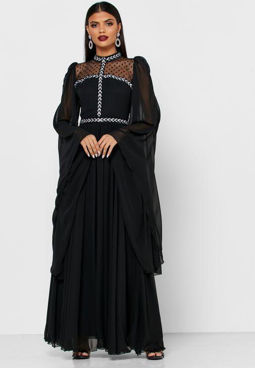 فستان باكمام شفافة بنمط فلوت