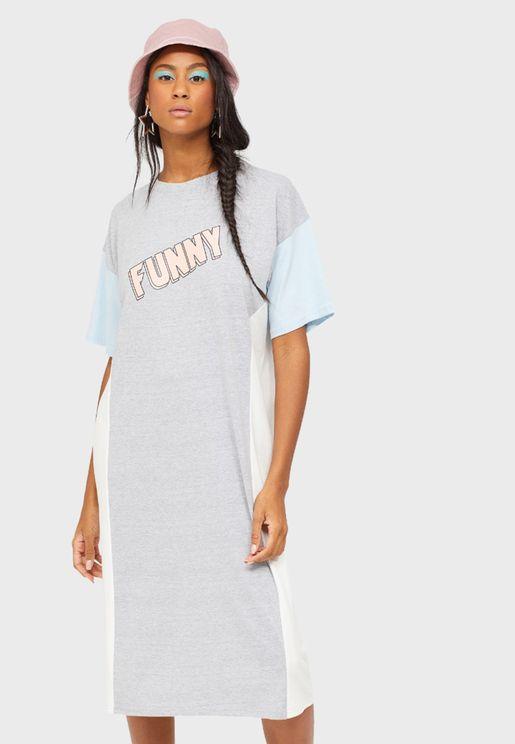 Colorblock Slogan T-Shirt Dress