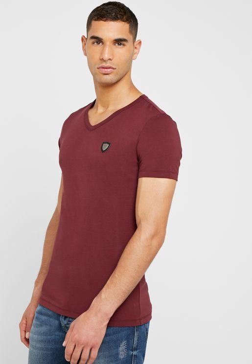 Chest Badge V-Neck T-Shirt