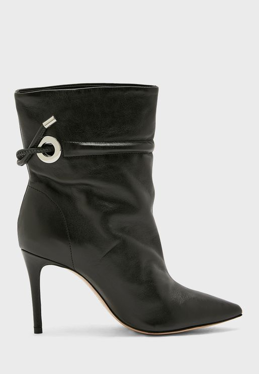 Strap Detail High Heel Ankle Boot