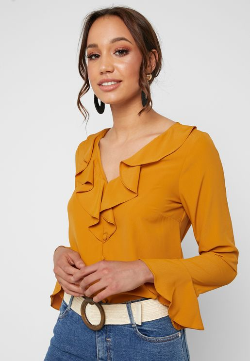 Ruffle Detail Flute Sleeve Top
