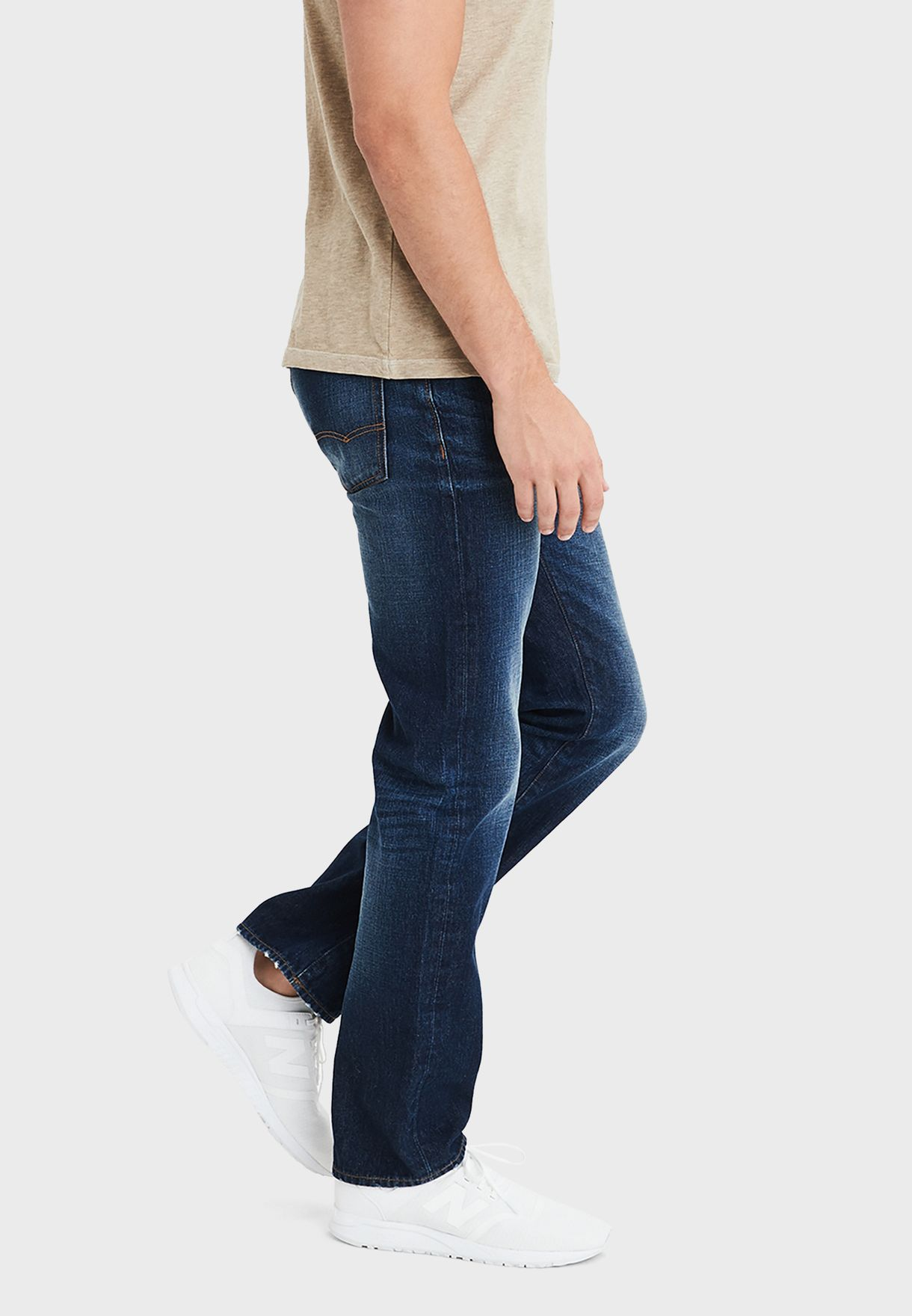 Mid Wash Straight Jeans