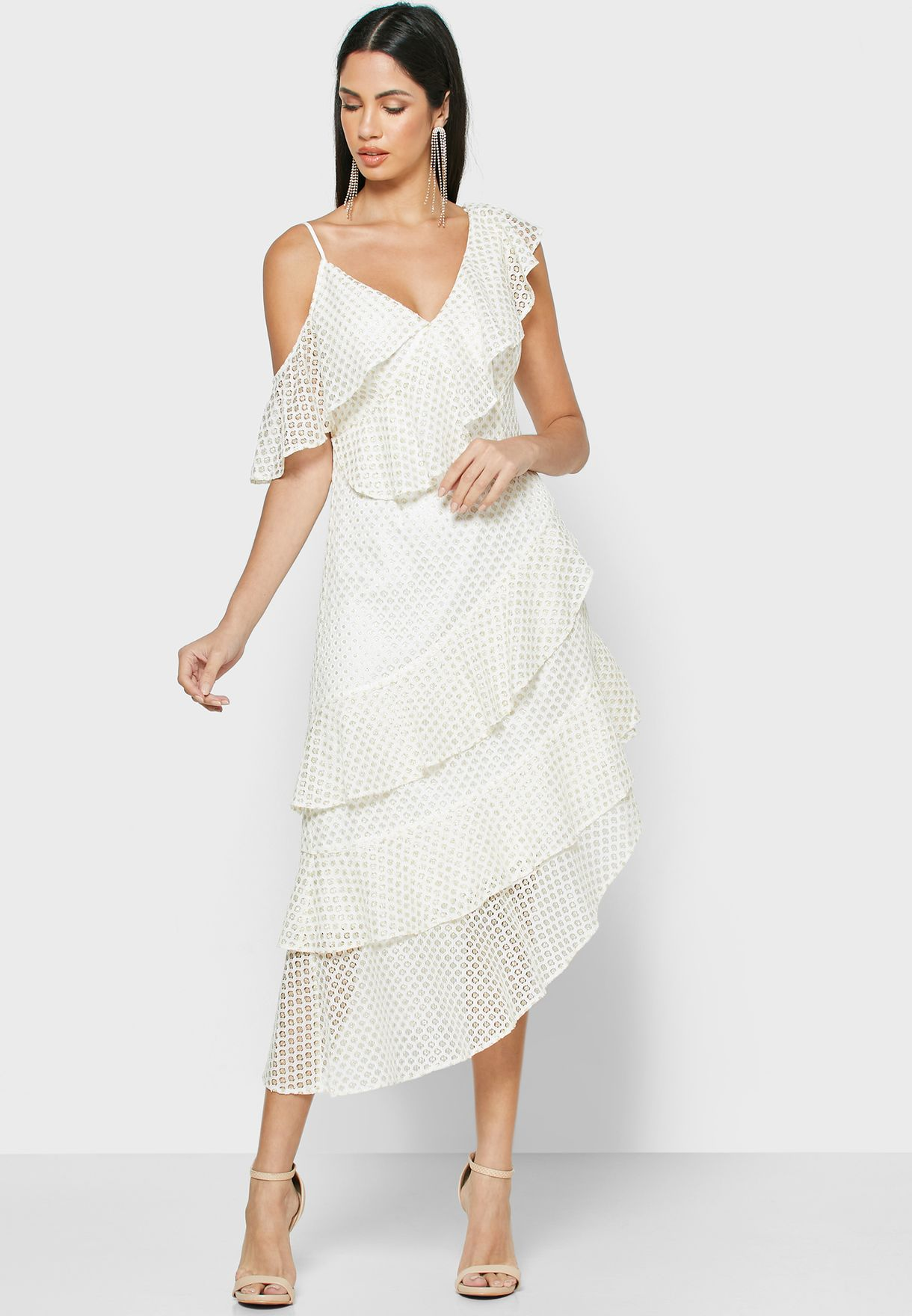 Asymmetric Tiered Lace Dress