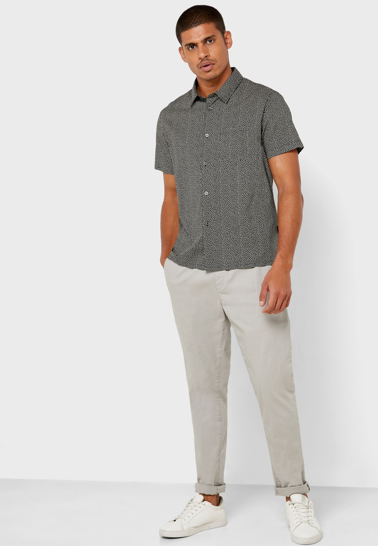 Trent Geo Print Slim Fit Shirt