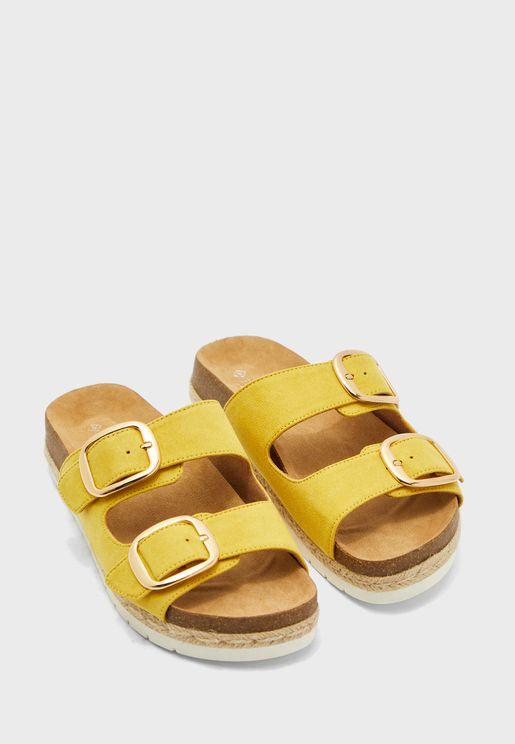 Double Buckle Detail Flat Sandal