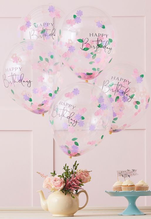Happy Birthday Floral Confetti Balloon