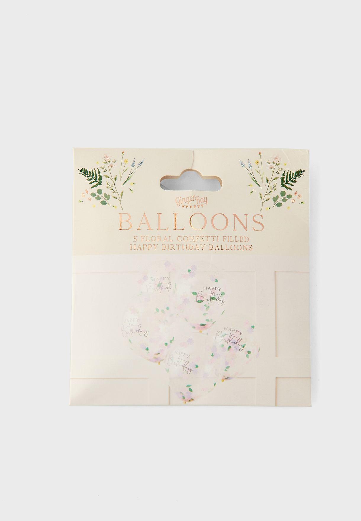 بالونات بطباعة زهور وقصاصات زينة عدد 5