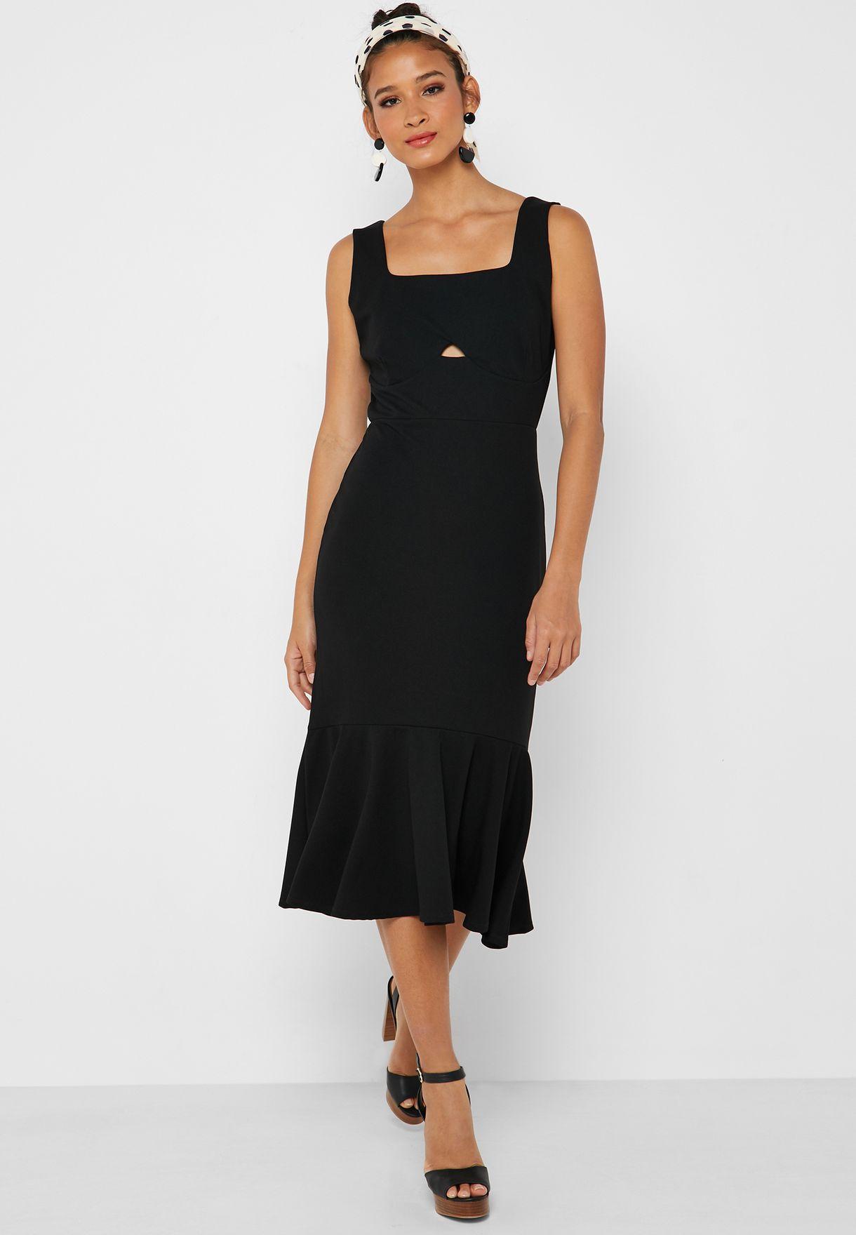 9147a4cede66 Shop Lost Ink black Fishtail Midi Dress 1201115021430000 for Women ...