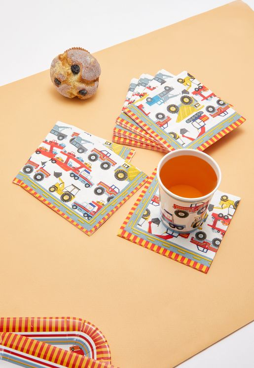Kids Tractor Party Napkins Pack of 16