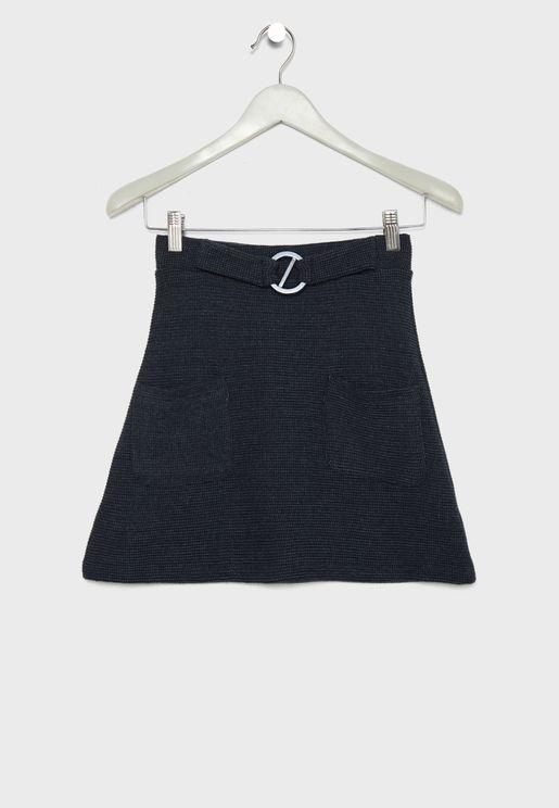 Teen Belt Detail Skirt