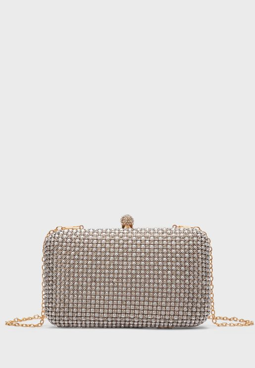 Embellished Chain Detail Clutch