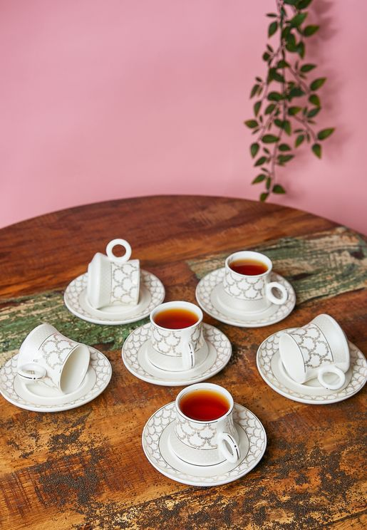 Set of 6 Tea Cups and Saucers