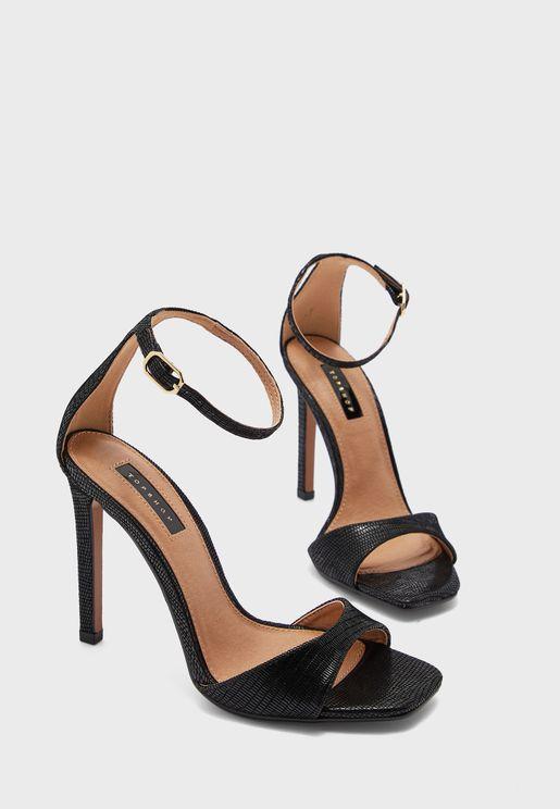 SILVY Black Skinny Two Part Heel Sandals