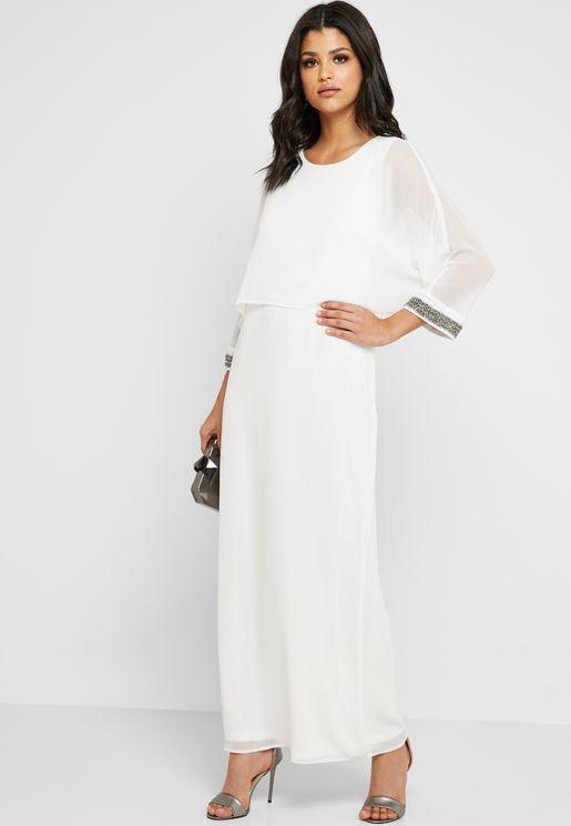 Embellished Mesh Sleeve Maxi Dress