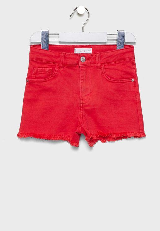 Kids Raw Hem Denim Shorts