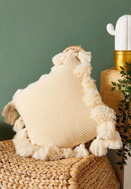 Cream Tassel Cushion With Insert 45cm x 45cm