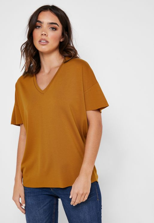 Drop Shoulder V-Neck T-Shirt