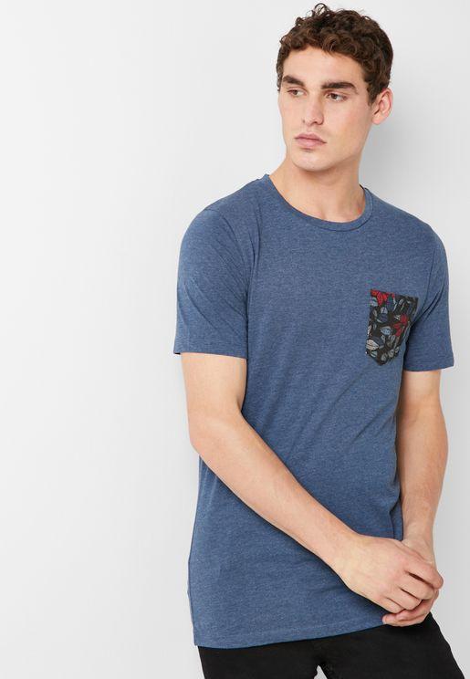 Floral Pocket Crew Neck T-Shirt