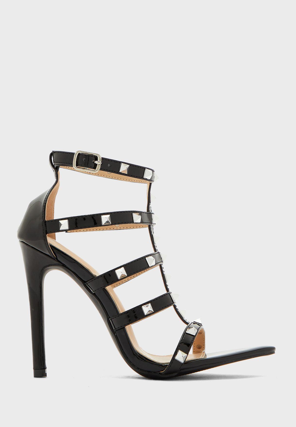 Multistrap Stud Detail High Heel Sandal