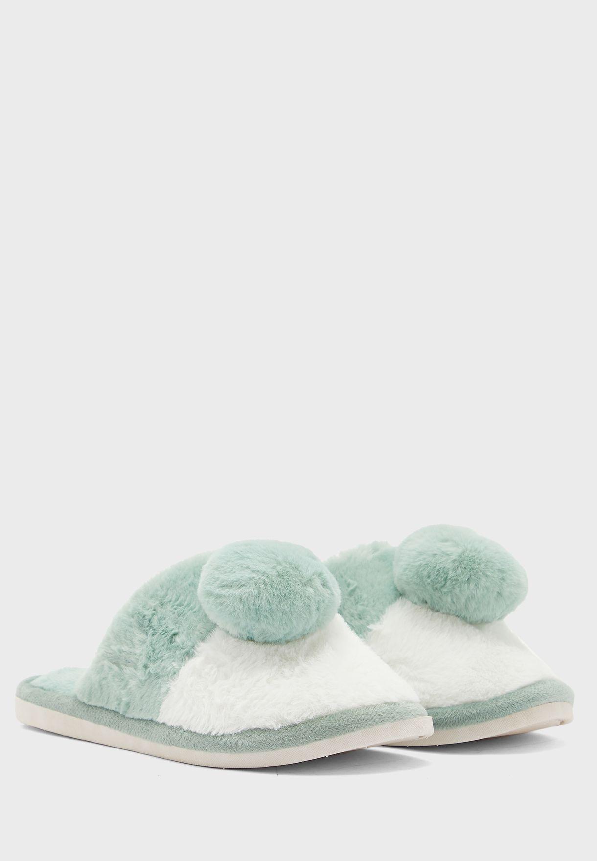 Colourblock Pom Pom Mule Bedroom Slippers