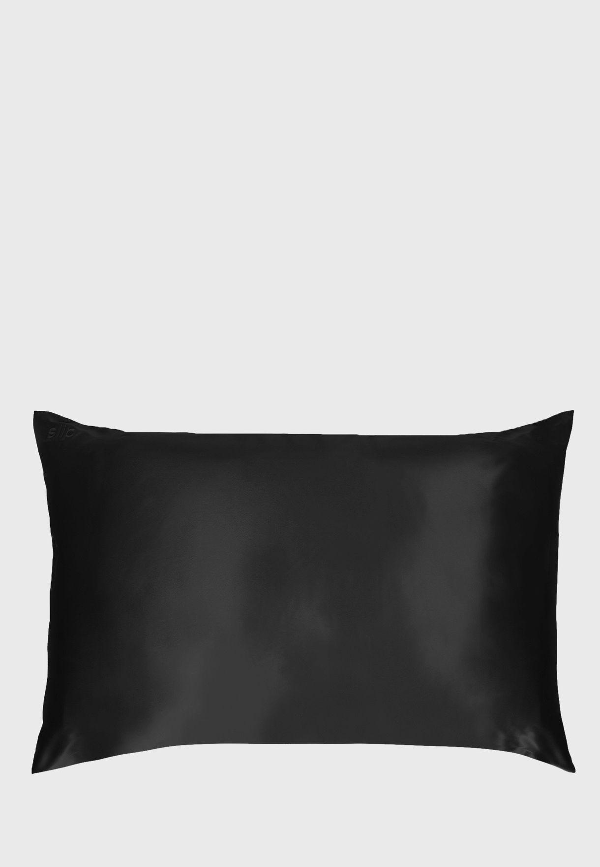 غطاء وسادة حريري كوين سايز - اسود