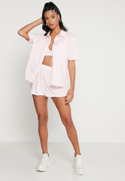 Towel Top, Bralet & Mini Shorts Set