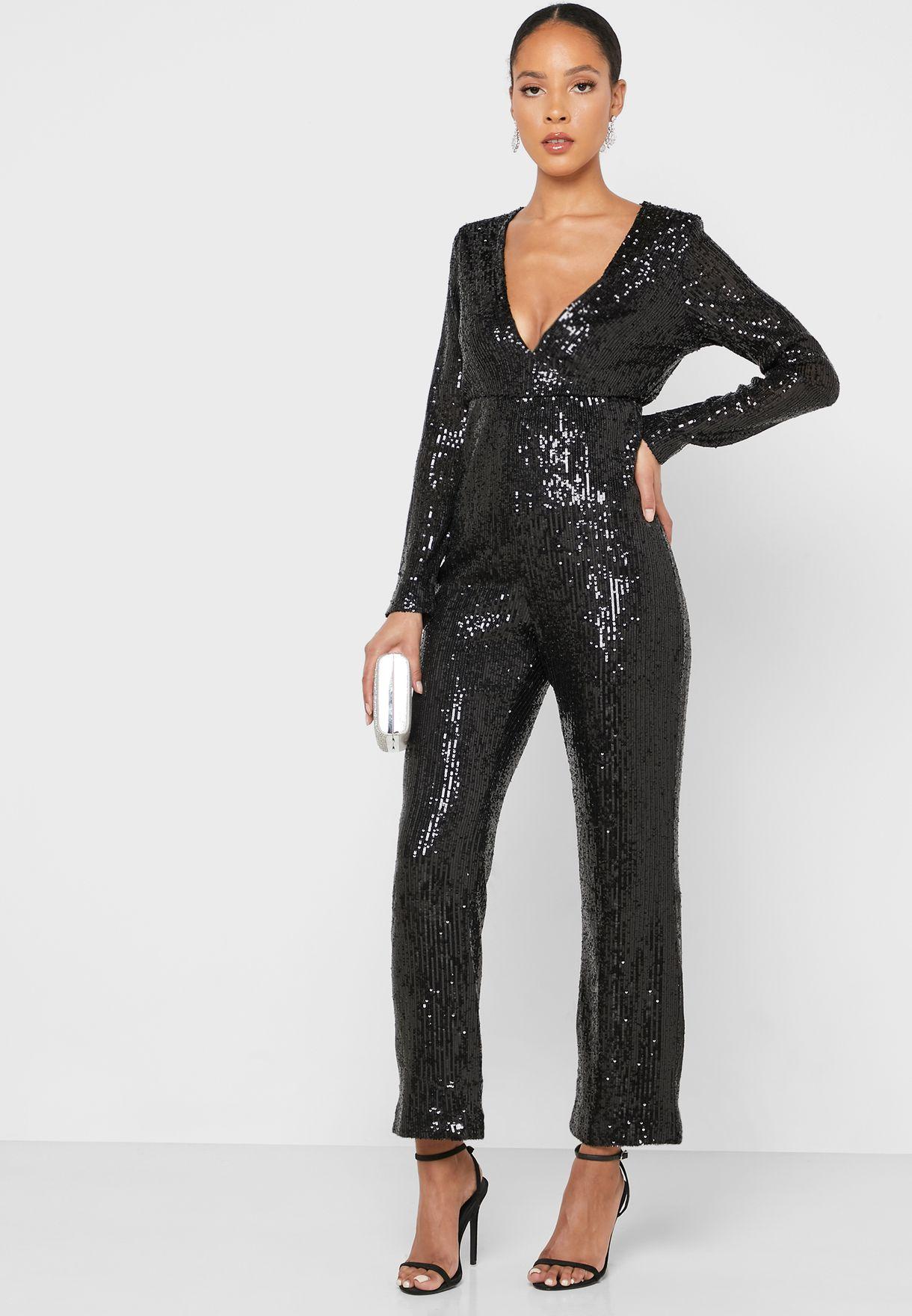 Sheer Sleeve Shimmer Jumpsuit